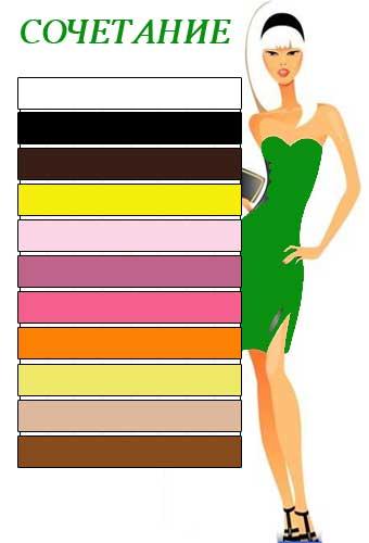 КАКОЙ ЦВЕТ сочетается с зеленым в одежде