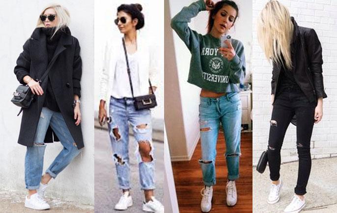 С какой обувью носить джинсы бойфренд