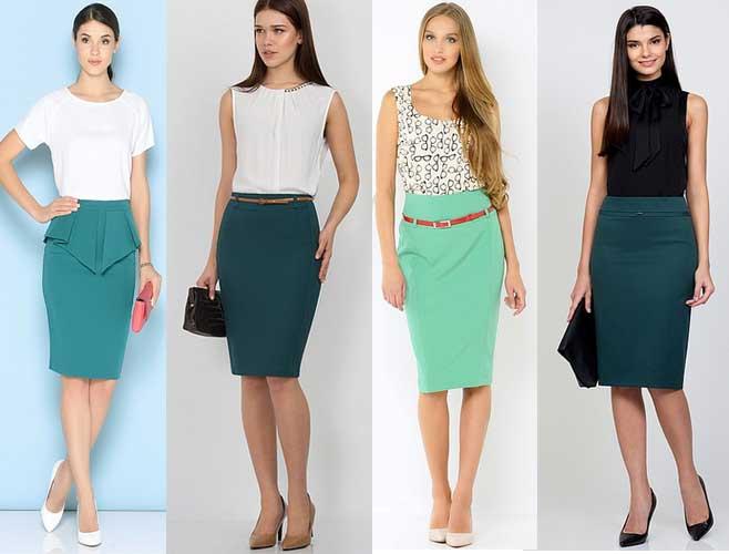 С чем носить зеленую юбку карандаш