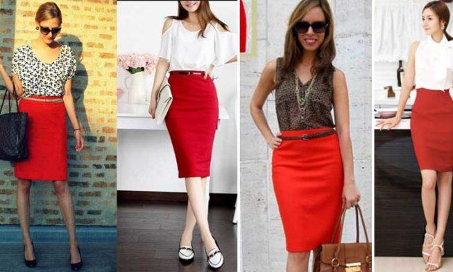 Красная юбка: с чем носить Фото изоражения