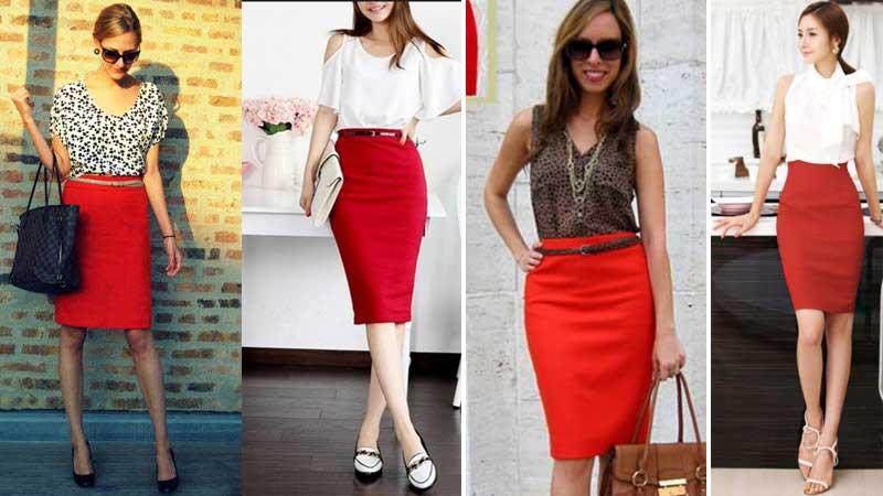 С чем носить юбку карандаш красную осенью