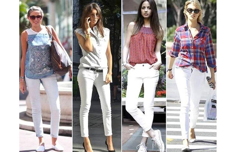с какой обувью носить белые брюки