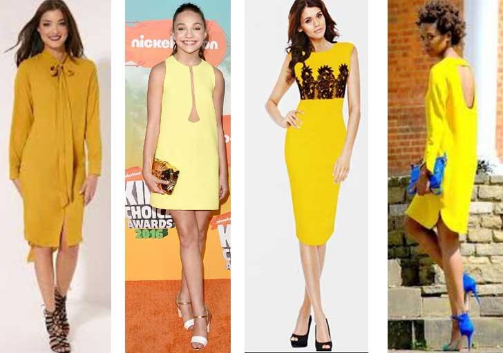 с какой обувью носить желтое платье